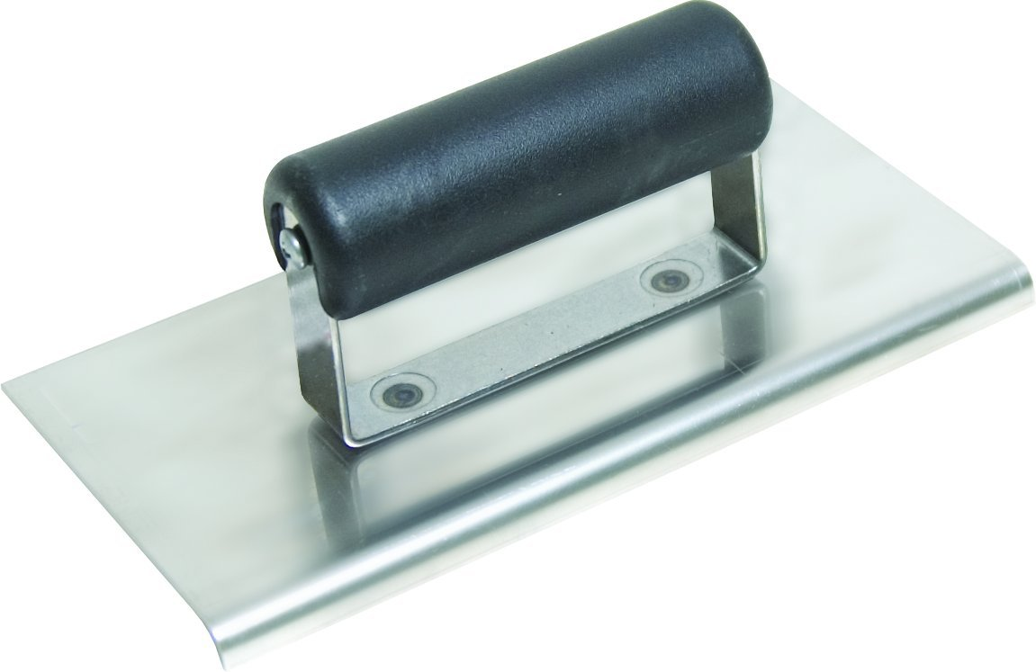 QLT By MARSHALLTOWN CE535SP 6-Inch x 3-Inch Stainless Steel Edger; 1/4-Inch Radius, 3/8-Inch Lip-Curved Ends-Plastic Handle