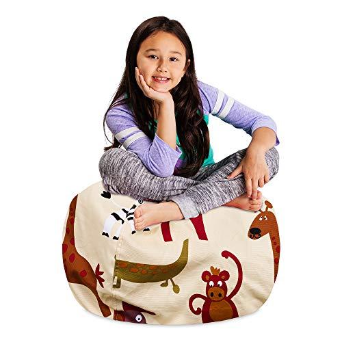 "Posh Stuffable Kids Stuffed Animal Storage Bean Bag Chair Cover - Childrens Toy Organizer, Medium-27"" - Canvas Jungle Tan"