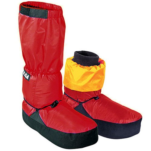 TAIGA Expedition Booties - Men's & Women's Water-Resistant Down-Filled Booties Footwarmers, Red, MADE IN CANADA, Medium (up to men's shoe size 9, women's 10) (Canada Goosedown)