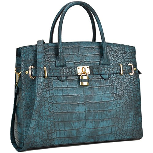 MMK Collection Fall~Winter Women Handbag Fashion Satchel for Women (02-1006)~Croco Padlock Handbag~Designer Women Purse/Handbag~Gifts for Women (02-1006 Turquoise)