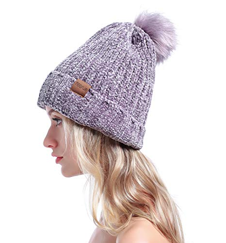 MEEFUR Women's Winter Pom Pom Beanie Crochet Adorable Trendy Hat Snow Knit Ski Bobble Cap Grey