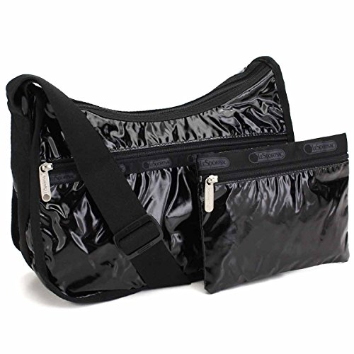 (LeSportsac Black Patent Classic Hobo Crossbody Bag + Cosmetic Bag, Style 7520/Color 9908)