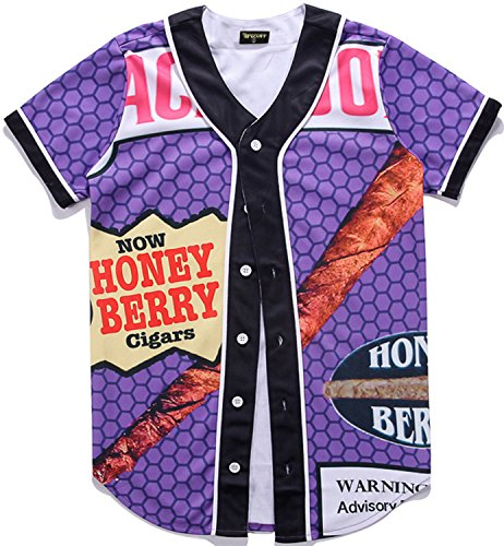 PIZOFF Short Sleeve Arc Bottom 3D Honey Berry Print Baseball Jersey Shirt Y1724-18-XL