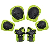 Kids Goods Best Deals - Bestgoo Sports Protective Gear Safety Pad 6 Pcs Unisex Children Support Pad Set Guards Pads Kids Youth (Knee, Elbow, Wrist) Protector Equipment for Roller Skating, Riding Bicycle, BMX Bike