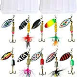 10pcs Fishing Lure Spinners,Bass Trout Salmon Hard Metal Spinnerbaits kit with 2 Tackle Boxes by Tbuymax