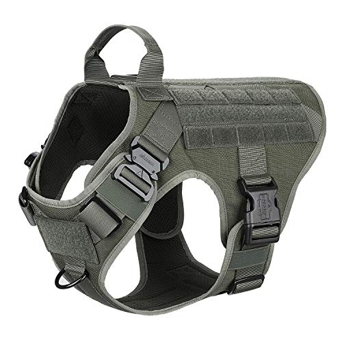 ICEFANG Large Dog Tactical Harness,Military K9 Working Dog Molle Vest,No Pulling Front Clip,Tracking Trailing Clip, Metal Buckle Easy Put On Off (L (28