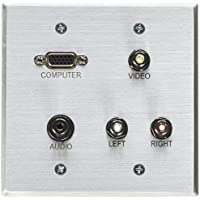 C2G/Cables to Go 40506 Double Gang HD15, 3.5mm, Composite Video, Stereo Audio Wall Plate (Aluminium)
