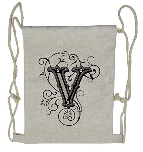 Ambesonne Letter V Drawstring Backpack, Gothic Halloween Font, Sackpack Bag ()