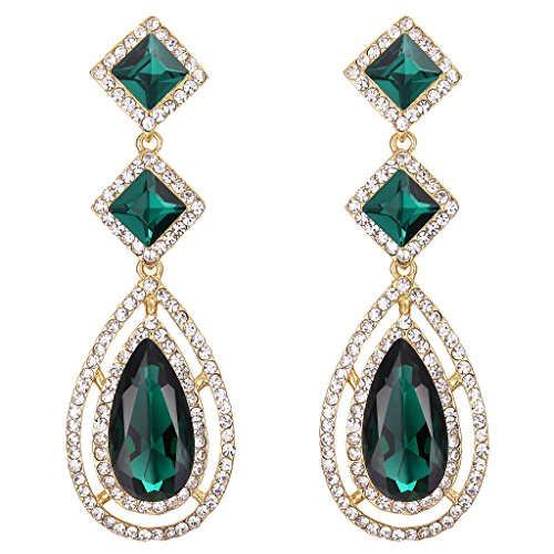 BriLove Women's Wedding Bridal Crystal Faceted Infinity Square Teardrop Hollow Chandelier Dangle Earrings Emerald Color Gold-Tone