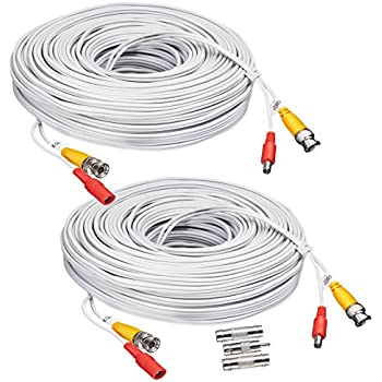 BNC CCTV DVR Cable Video Surveillance Security System Camera Coaxial Wire Cord Connector (25ft 2-Pack) Premade All-in-One with Power Cord - 25 Feet