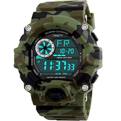 Timsty Digital Sports Boys Watch Waterproof Military Camouflage Great Christmas Gift for Boys & Teens (Best Price G Shock Watches)