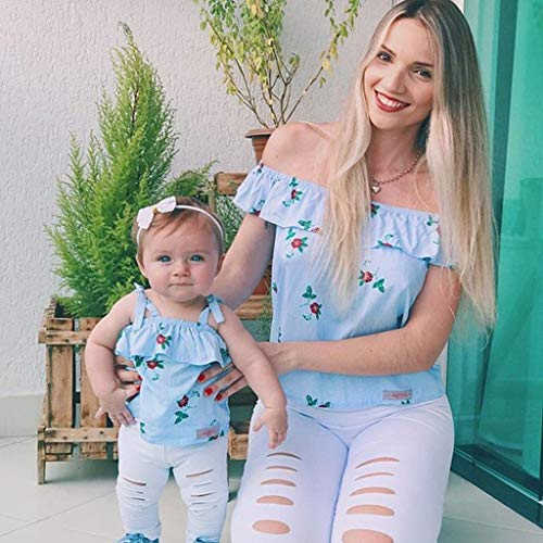 2019 Fashion Mommy &Me Baby Girl Floral Print Sleeveless Ruffles T-Shirt Tops Family Clothes Parent-Child Outfit by GIFC (Image #2)