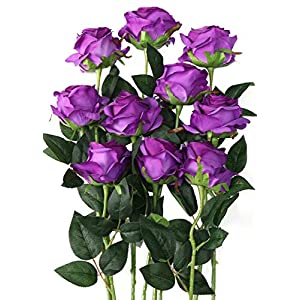 Luyue Artificial Silk Rose Flower Bouquet Wedding Party Home Decor, Pack of 10 (Style 1-Purple) 36