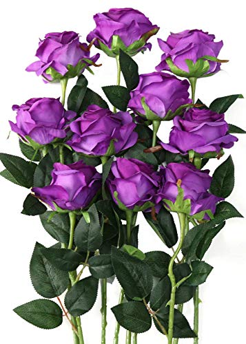 Luyue Artificial Silk Rose Flower Bouquet Wedding Party Home Decor, Pack of 10 (Style 1-Purple)