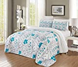 GrandLinen 2-Piece Fine Printed Oversize (66'' X 95'') Quilt Set Reversible Bedspread Coverlet Twin/Twin XL Size Bed Cover (Turquoise Blue, Grey, Floral, Vine)