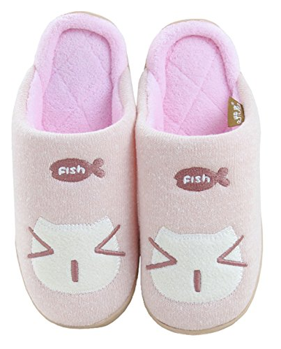 Blubi Womens Cat Face Cotton Comfort Cute Slippers Funny Slippers Pink