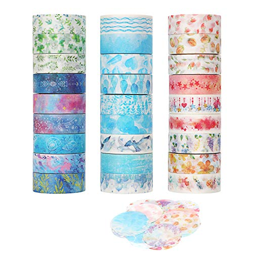 Molshine 27 Rolls Washi Masking Tape +27 Sheets Stickers, Sticky Paper Tape for DIY, Decorative Craft, Gift Wrapping, ScrapbookLove Time Collections(0.6inch x 5.5yd)