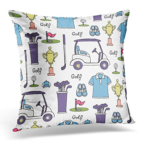 Craze Putter - Sdamase Throw Pillow Cover White Drawn with Colored Symbols of Golf Pattern on the Hobby Game Recreation for Design Site Hand Decorative Pillow Case Home Decor Square 18