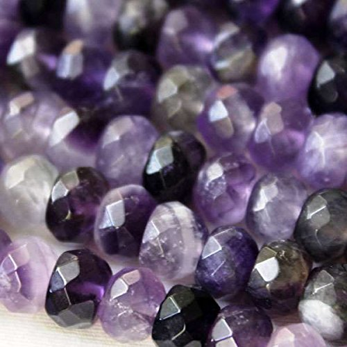 (Cherry Blossom Beads Amethyst Beads 5x8mm Faceted Rondelle - 8 Inch Strand)