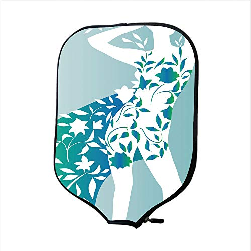 Neoprene Pickleball Paddle Racket Cover Case,Floral,Fashion Woman Girl Body with Flower Petal Leaves Modern Design Model Image Decorative,Turquoise Teal White,Fit For Most Rackets - Protect Your Paddl (Petal Knob Flower Design)