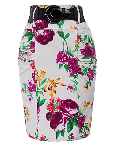 Kate Kasin Bodycon Jupe Crayon pour Les Femmes Portant Le Bureau Floral-11(kk0610-11)