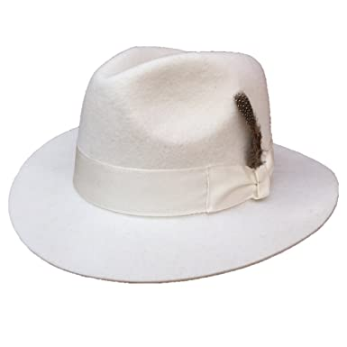 Wool Felt Men or Women s White Fedora Hat at Amazon Women s Clothing ... 13ea95e6017