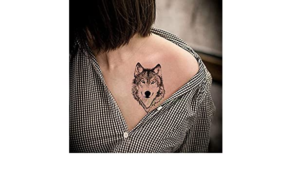 ljmljm 5 Piezas Impermeable Tatuaje Pegatina Animal Lobo búho ...