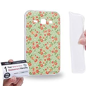 Case88 [Samsung Galaxy J1] Gel TPU Carcasa/Funda & Tarjeta de garantía - Art Drawing Fashion Spring Haze Floral Pattern 1409