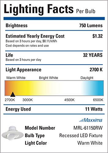 11 Watt 6''-Inch Rotatable 750 Lumens Maxxima LED Retrofit Downlight Gimbal Warm White 2700k Dimmable, Straight E26 Connection Cable, Energy Star by Maxxima (Image #1)