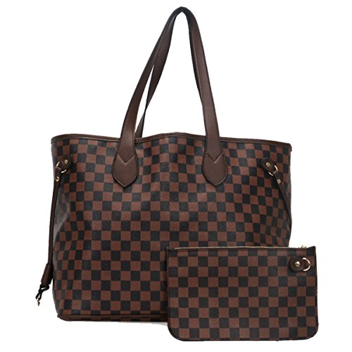 693583cb17 Fashion Bazaar Designer Style Check Shoulder Bags - Faux Leather Tote -  Barrel Style Gym Weekend Duffel Travel Bag - Checked Handbag with Coin Purse  - Buy ...