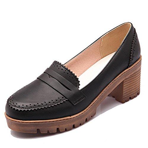 AllhqFashion Damen Rein PU Leder Mittler Absatz Rund Zehe Ziehen auf Pumps Schuhe Schwarz
