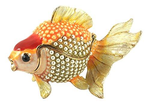 Fish Trinket (Enameled Koi Goldfish Trinket Box by Kubla Craft, Accented with Imitation Pearls, 3.5L)