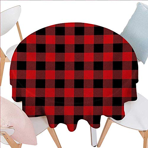 Plaid Washable Round Tablecloth Lumberjack Fashion Buffalo Style Checks Pattern Retro Style with Grid Composition Waterproof Round Tablecloths D60 Scarlet ()