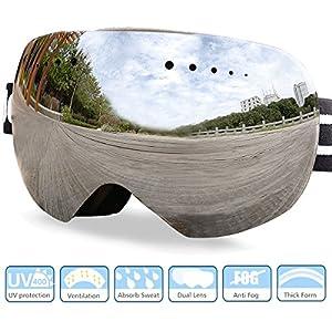 Premium Ski Goggles Over Glasses, Skiing Snow Goggles for Men Women Anti-Fog Frameless Snowboard Goggles Spherical Lens UV 400 Protection with Case