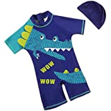 Eleanos Boys 1 Piece Short Sleeve Sun Protection Rashguard Swimsuit