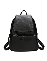ShiningLove Stylish Women Casual Backpack Soft PU Shoulders Bag with Lichee Pattern Zippered Closure Schoolbag Black