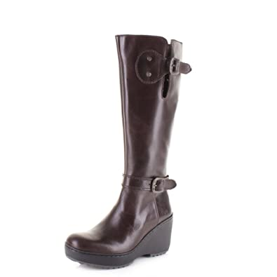 194ee51659 Fly London Womens Mlea Rug Dark Brown Leather Knee high Wedge Boots Size 9
