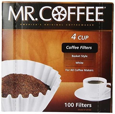 Mr. Coffee Basket Coffee Filters, 4 Cup, White Paper, 100-Count Boxes (Pack of 12) by Mr. Coffee