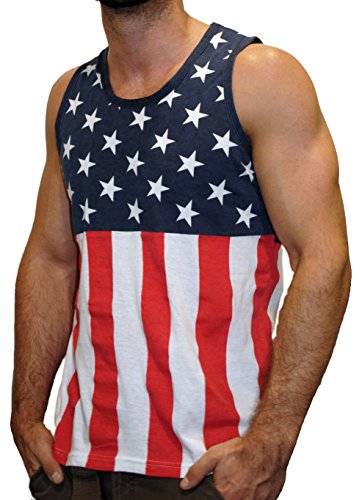 Flag Mens Tank Top (Licensed Mart Men's American Flag Stripes and Stars Tank Top Shirt TAF05 XL)