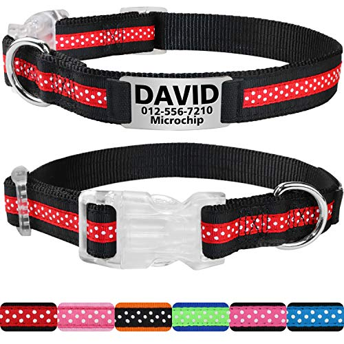 Personalized Dog Collar,Customized Dog Collars with Pet Name & Phone Number - Polkadot Pattern with Two Tone Color Collars for Girl & Boy Dogs - 3 Size for Small,Medium,Large,Red/Black