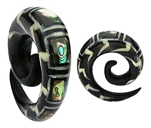 Bone Inlay Body Jewelry Tunnels - PAIR of Organic Abalone Inlay Horn Spiral Tapers Plugs Gauges 2g,0g,00g (00g (10mm))