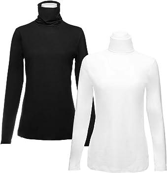 2-Pk Felina Womens Long Sleeve Turtlenecks