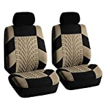 infant car seat cover patterns - FH GROUP FB071102 Travel Master Seat Covers Pair Set Airbag Ready & Rear Split Beige / Black - Fit Most Car, Truck, Suv, or Van