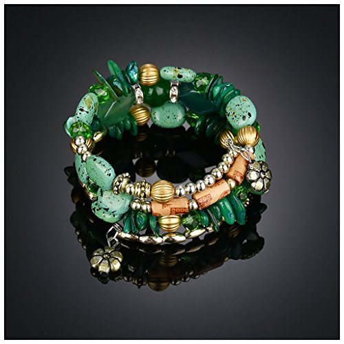 Jade Green Vintage (MIXIA Boho Multilayer Irregular Agate Beads Charm Bracelets for Women Vintage Jade Stone Man Bracelets Yoga Bangles Ethnic Jewelry (Green))
