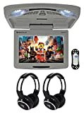 Rockville RVD12HD-GR 12' Grey Flip Down Car Monitor DVD/USB/SD Player+Headphones