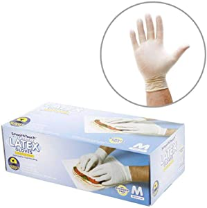 200 Medium Size Disposable Latex Gloves, Powder Free, Smooth Touch, Food Service Grade, Non-Sterile [2x100 Pack]
