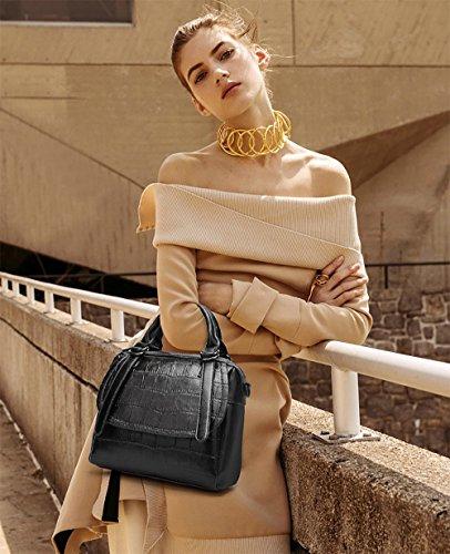 pelle borse borse Tisdaini tracolla spalla da borsa a a borsetta Nero donna in borse qBqgIUw
