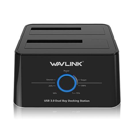 WAVLINK Base de conexión USB 3.0 a SATA Disco duro externo Docking Station Doble bahias con ...