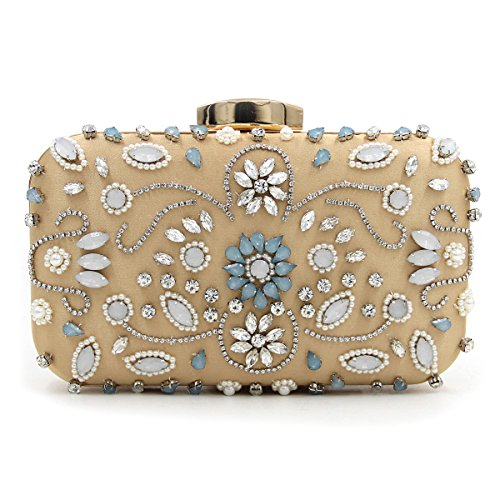 Señora Embragues Noche Bolsas de Hombro Metal Rosa Flores talladas de lujo Cena colorida tarde bordado bolso de cadena Gold