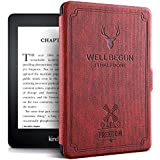 "ProElite Deer Smart Flip case Cover for All Amazon Kindle 6"" 10th Generation 2019 [Wine Red]"